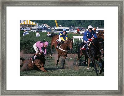 Steeplechase Spill - 1 Framed Print by Randy Muir