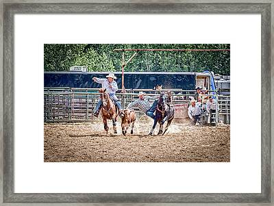 Framed Print featuring the photograph Steer Wrestling With An Audience by Darcy Michaelchuk