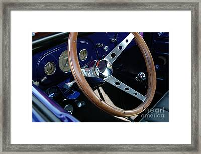 Steering Wheel And Dashboard - '36 Ford Truck Framed Print by Kathy Carlson