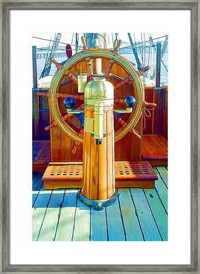 Steering Wheel Of The Ship  Framed Print by Lanjee Chee