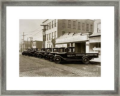 Stegmaier Brothers Inc Beer Trucks At 693 Hazle Ave Wilkes Barre Pa 1930s Framed Print