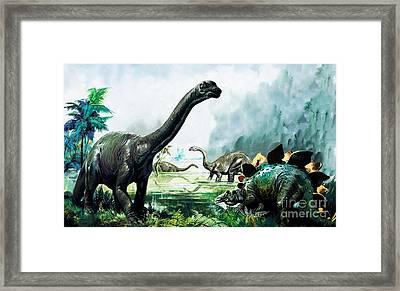 Stegosaurus, Brachiosaurus,  Prehistoric Animals Framed Print