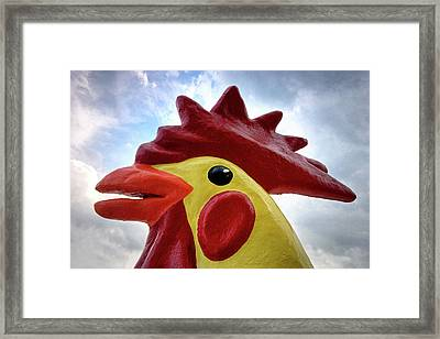 Framed Print featuring the photograph Stegosaurus Chicken Dinosaur In The Clouds by Bill Swartwout Fine Art Photography
