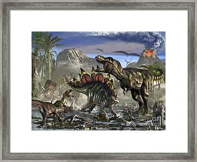Stegosaurus Defending Himself Framed Print by Kurt Miller