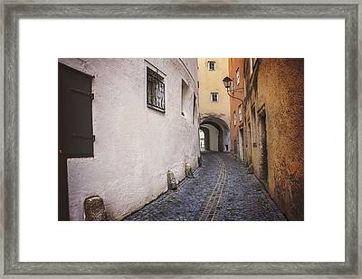 Steingasse Salzburg Framed Print by Carol Japp