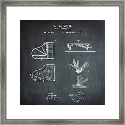 Steinway Grand Piano Patent 1878 In Chalk Framed Print by Bill Cannon