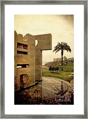 Framed Print featuring the photograph Stelae In The Park - Miraflores Peru by Mary Machare