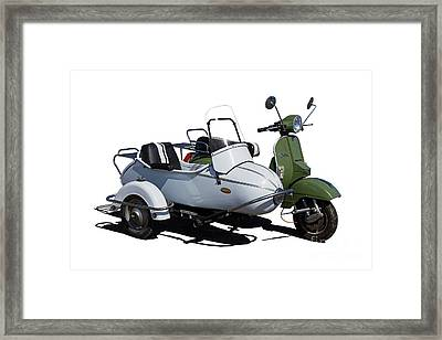 Stella Scooter With White Sidecar Framed Print