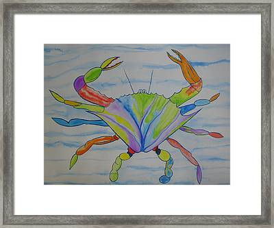 Framed Print featuring the painting Stella The Crab by Erika Swartzkopf