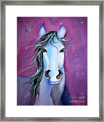 Stellar Whimsical Horse Art By Valentina Miletic Framed Print by Valentina Miletic