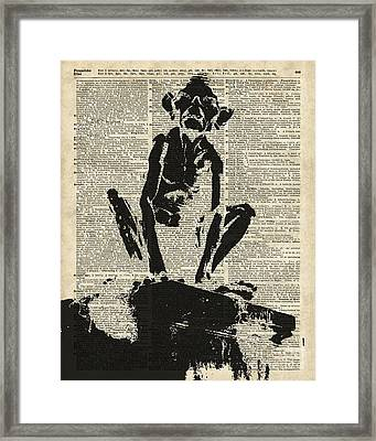 Stencil Of Gollum,smeagol Over Old Dictionary Page Framed Print