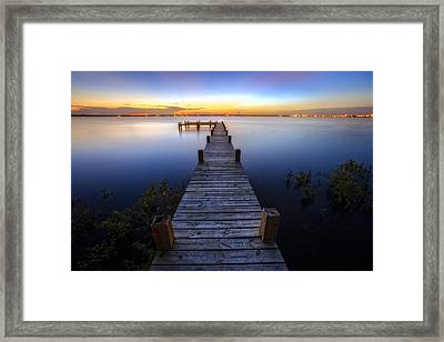 Step Into Dawn Framed Print by Debra and Dave Vanderlaan
