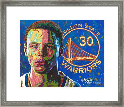 Steph Curry Framed Print by Maria Arango