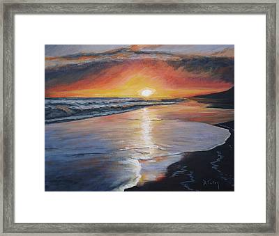 Framed Print featuring the painting Stephanie's Sunset by Donna Tuten