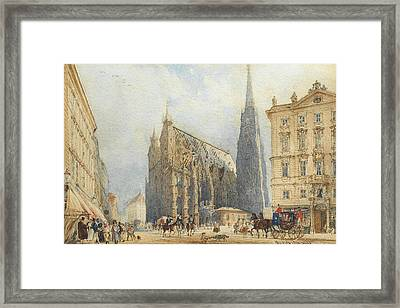 Stephansplatz In Vienna With The Cathedral Framed Print