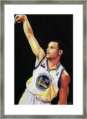 Stephen Curry Gold State Warriors Framed Print by Michael  Pattison