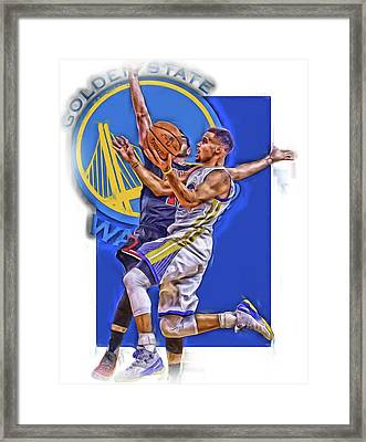 Stephen Curry Golden State Warriors Oil Art Framed Print by Joe Hamilton