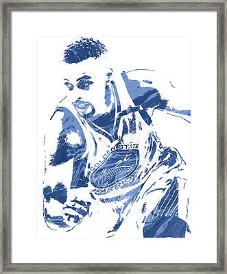 Stephen Curry Golden State Warriors Pixel Art 8 Framed Print