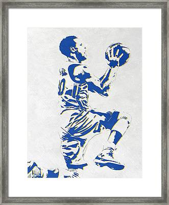 Stephen Curry Golden State Warriors Pixel Art Framed Print