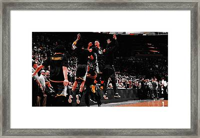 Stephen Curry Victory Jump Framed Print
