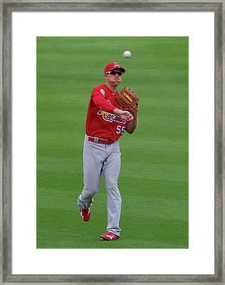 Stephen Piscotty St Louis Cardinals Framed Print by Bruce Roker