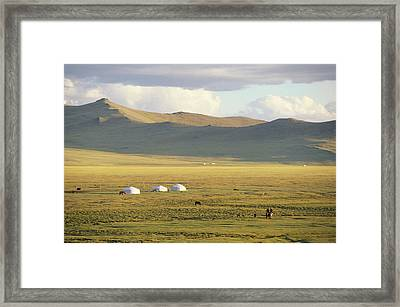 Steppeland Gers Yurts Framed Print by David Edwards