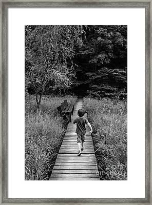 Framed Print featuring the photograph Stepping Into Adventure - D009927-bw by Daniel Dempster