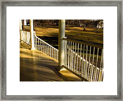 Steps And Shadows At Thomas Cole House In Catskill Framed Print by Nancy De Flon