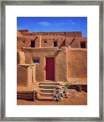 Steps To Red Door - Taos Pueblo Framed Print