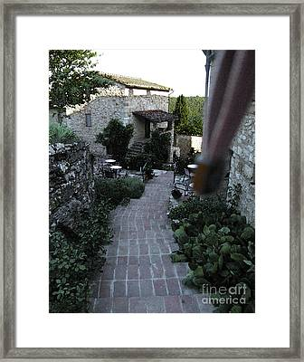 Steps To The Wine Cellar Framed Print by Linda Ryan