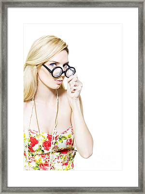 Stereotypical Nerd In Glasses Framed Print by Jorgo Photography - Wall Art Gallery