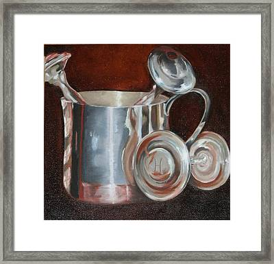 Sterling Baby Rattles In A Baby Cuo Framed Print by Amy Higgins