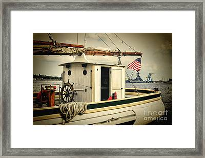 Stern Of A Sailboat Docked In Philadelphia Framed Print by George Oze