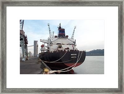 Stern Of The Vessel Indrani At Dock Framed Print by Alan Espasandin