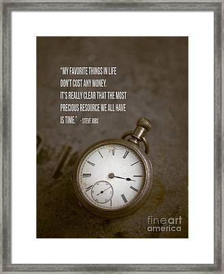 Steve Jobs Time Quote Framed Print by Edward Fielding