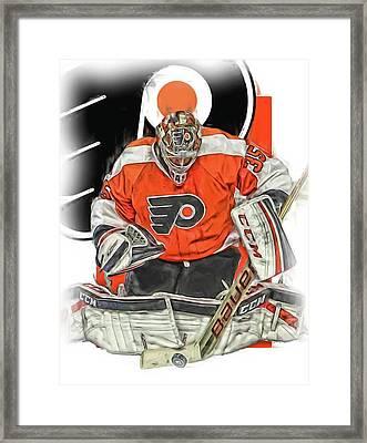 Steve Mason Philadelphia Flyers Oil Art Framed Print by Joe Hamilton