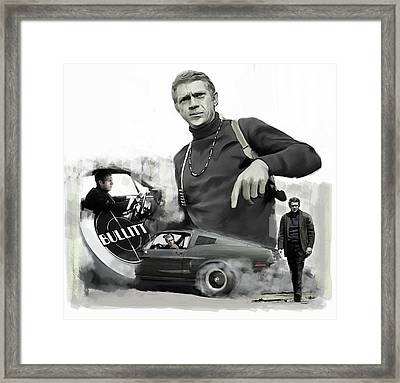 Framed Print featuring the painting Steve Mcqueen Bullitt Mcqueen  by Iconic Images Art Gallery David Pucciarelli