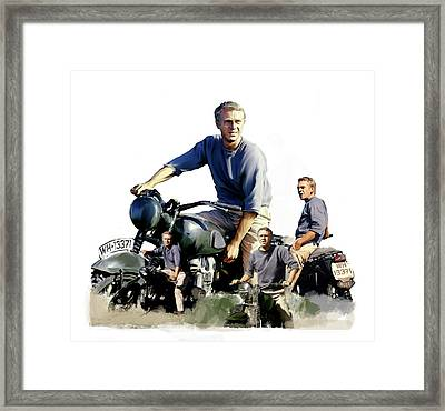 Framed Print featuring the painting Steve Mcqueen  Captain Hilts Great Escape by Iconic Images Art Gallery David Pucciarelli
