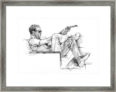 Steve Mcqueen Colt 45 Framed Print by David Lloyd Glover