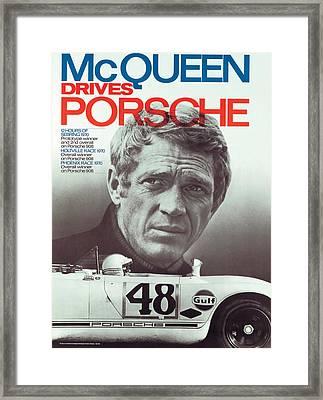 Steve Mcqueen Drives Porsche Framed Print