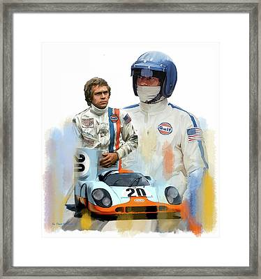 Framed Print featuring the painting Steve Mcqueen Driving Force by Iconic Images Art Gallery David Pucciarelli