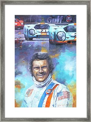 Steve Mcqueen Le Mans Porsche 917 Framed Print by Yuriy Shevchuk