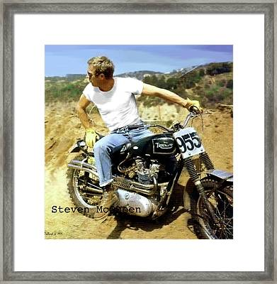 Steve Mcqueen Painting Triumph Motorcycle On Any Sunday Framed Print