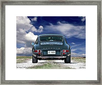 Steve Mcqueen's 1970 Porsche 911s From Opening Scene Of The Movie Le Mans Framed Print by Thomas Pollart
