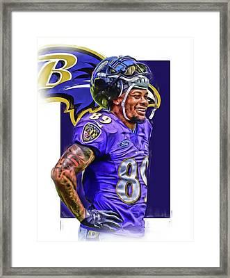 Steve Smith Sr Baltimore Ravens Oil Art Framed Print by Joe Hamilton