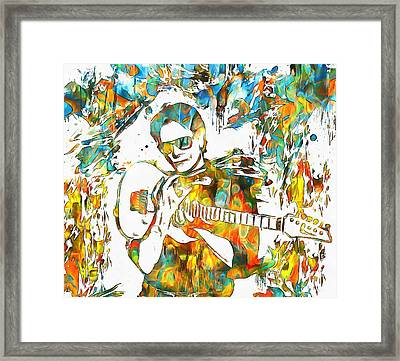 Steve Vai Paint Splatter Framed Print by Dan Sproul