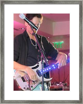 Steve Vai Playing Framed Print by Tammie Sisneros
