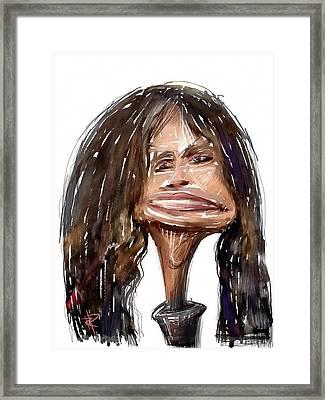 Steven Tyler Framed Print by Russell Pierce