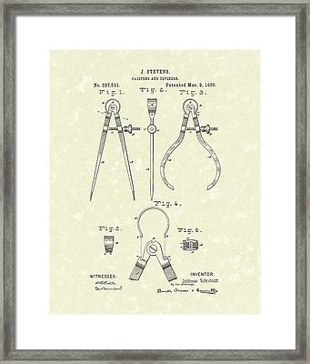 Stevens Calipers And Dividers 1886 Patent Art Framed Print