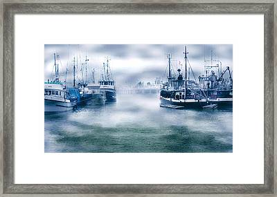 Steveston In Morning Fog Framed Print by Barbara  White